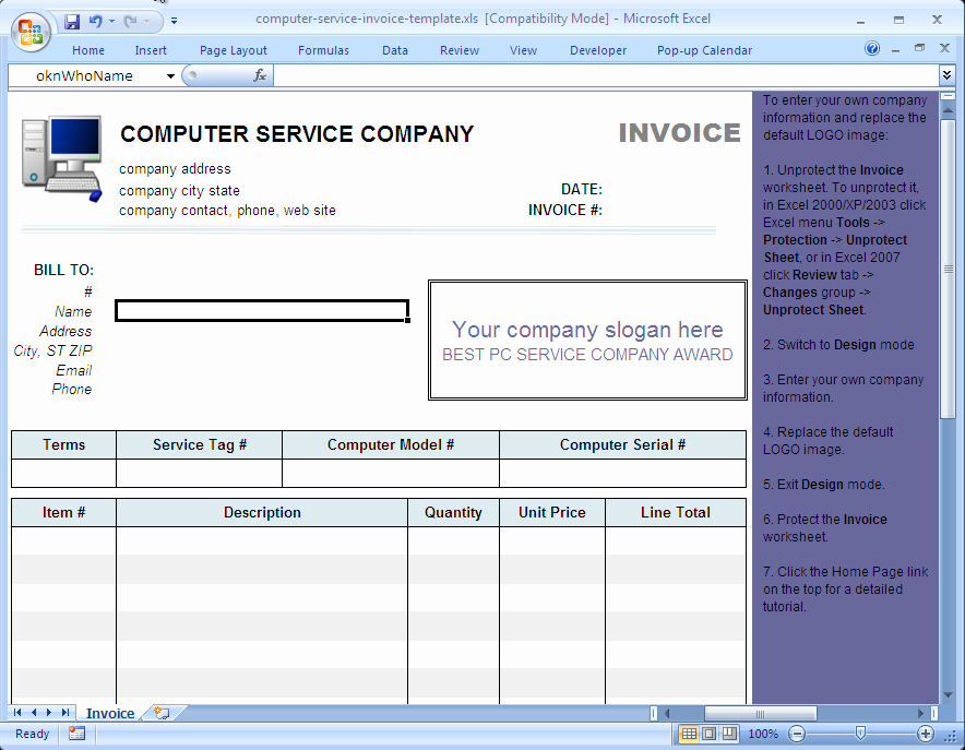 Computer Repair Invoice Template Lovely Puter Service Invoice Template Uniform Invoice software