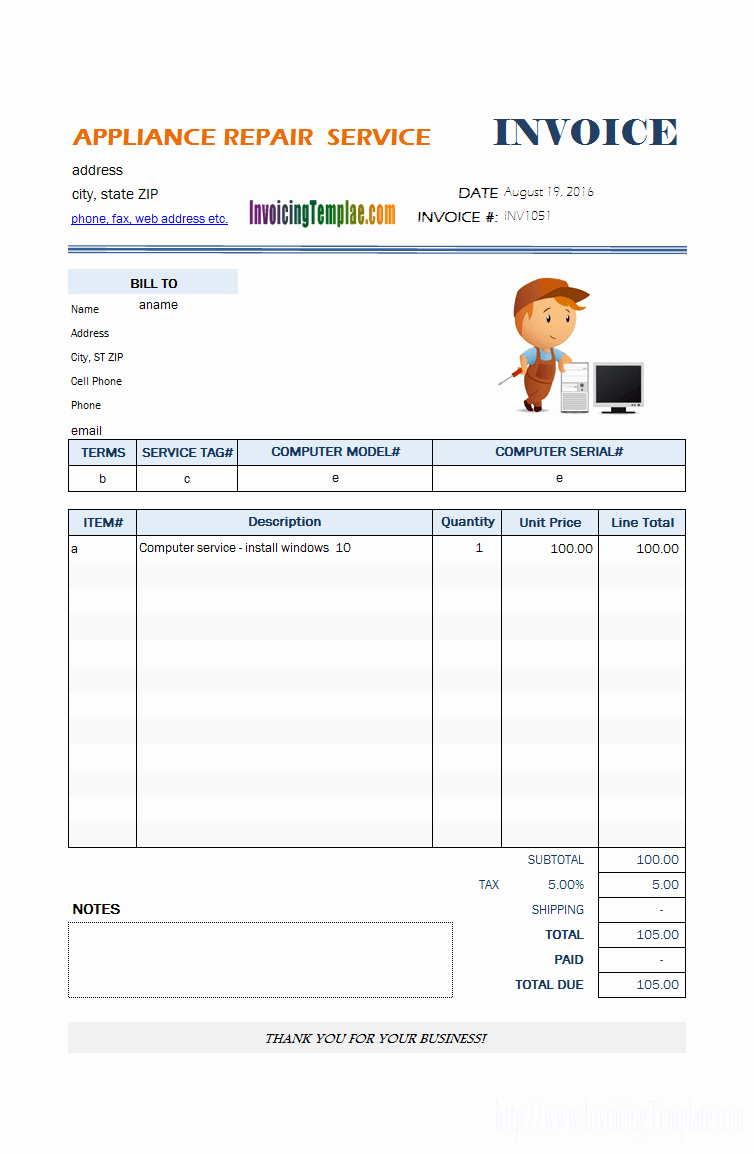 Computer Repair Invoice Template Unique Bill format for Puter Repair Service