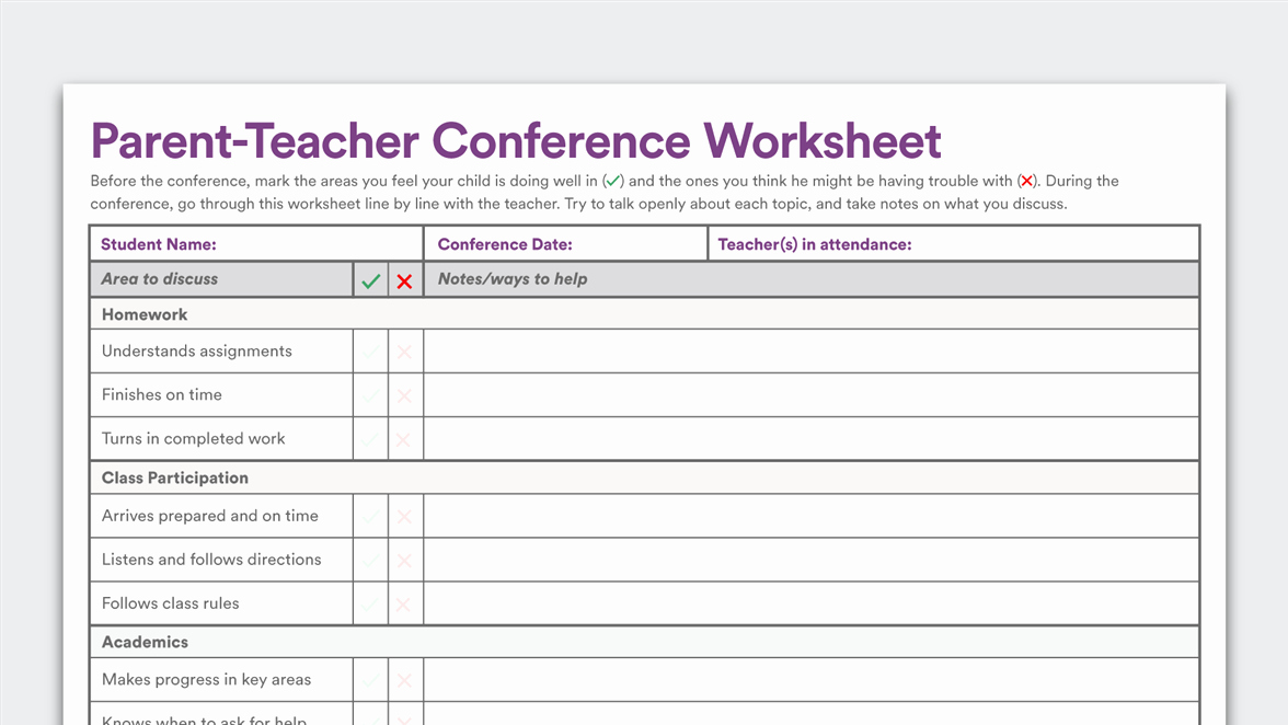 Conference Notes Template for Teachers Awesome Printable Parent Teacher Conference Worksheet