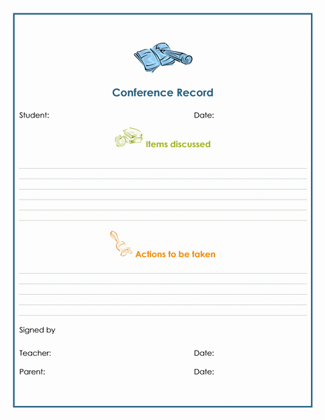 Conference Notes Template for Teachers Best Of Parent Munication Log Template