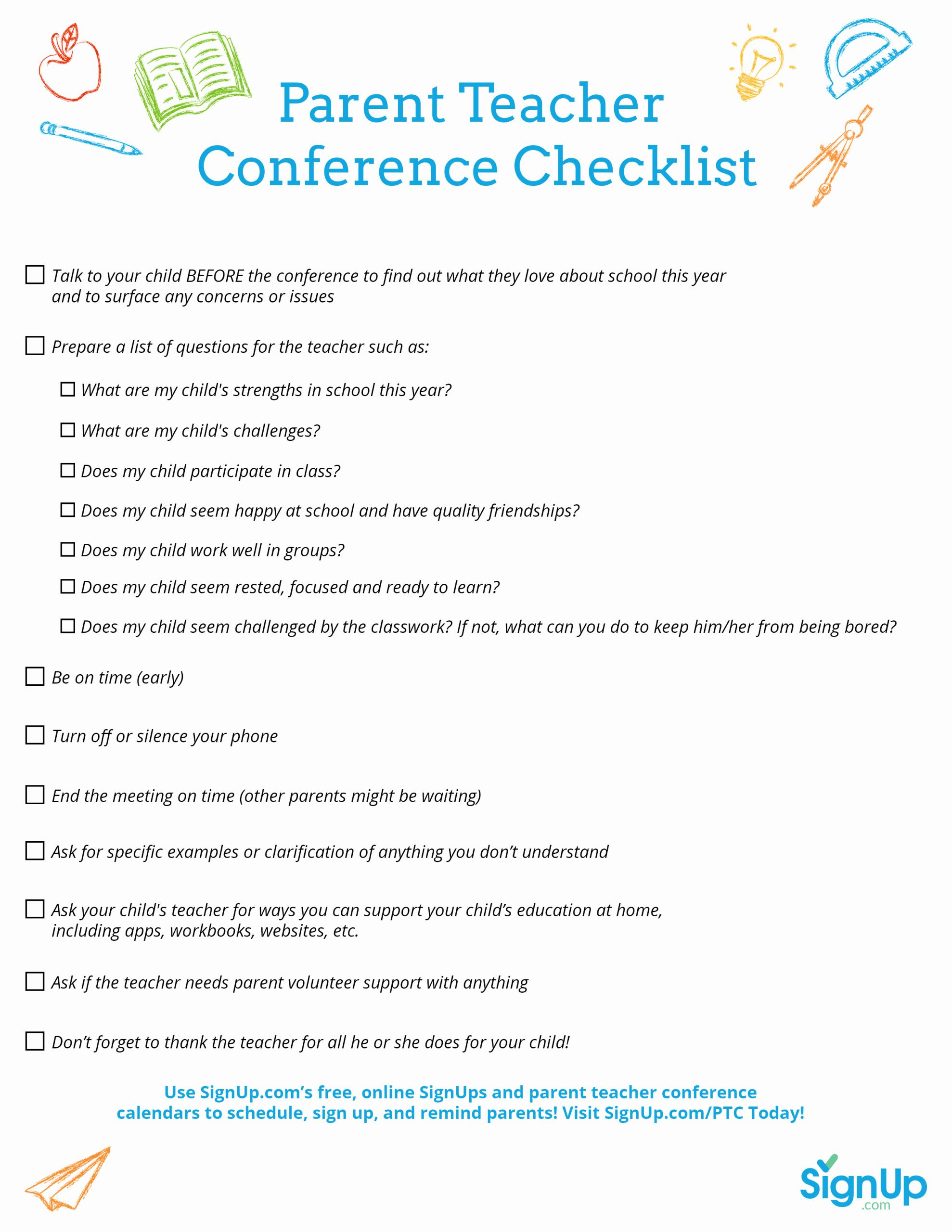 Conference Notes Template for Teachers Fresh Printable Checklist for Parent Teacher Conferences