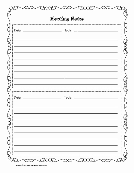 Conference Notes Template for Teachers Lovely Meeting Notes Templates Printables & Template for