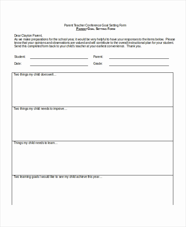 Conference Notes Template for Teachers Luxury 9 Parent Teacher Conference forms Free Sample Example