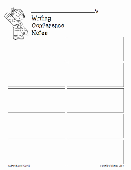 Conference Notes Template for Teachers New Reading & Writing Student Conferences Recording Sheets