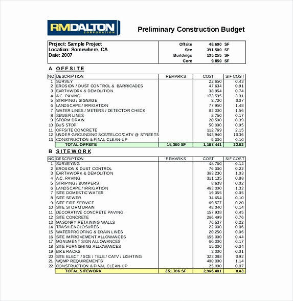 Construction Budget Template Excel Inspirational 13 Excel Bud Template Mac