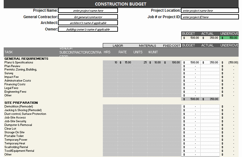 Construction Budget Template Excel Lovely Construction Bud Template – Free Detailed Bud