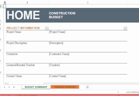 Construction Budget Template Excel Lovely Home Construction Bud Template for Excel
