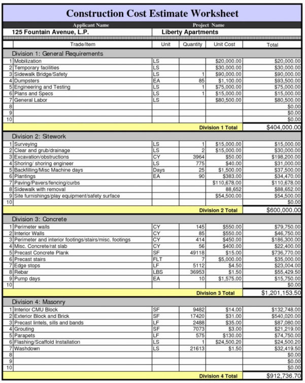 house building bud spreadsheet