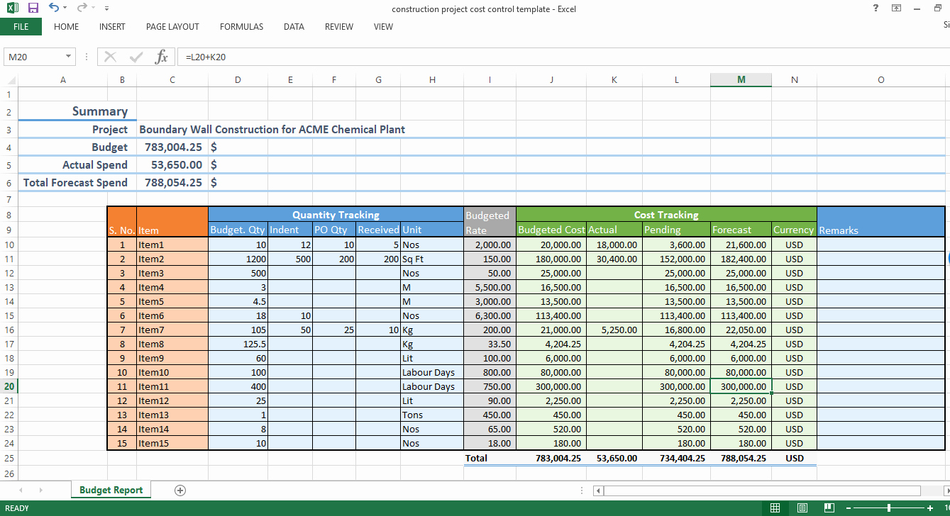 Construction Budget Template Excel Unique Construction Project Cost Control Excel Template Workpack
