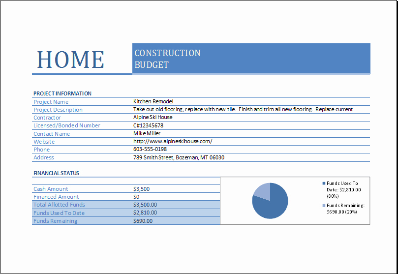 Construction Budget Template Excel Unique Home Construction Bud Worksheet for Excel