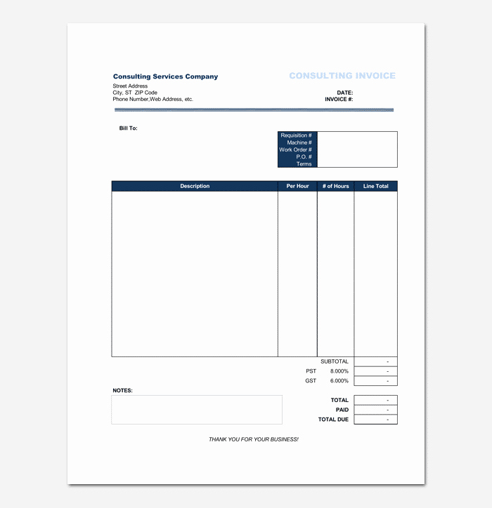 Consultant Invoice Template Excel Elegant Consultant Invoice Template for Word Excel & Pdf