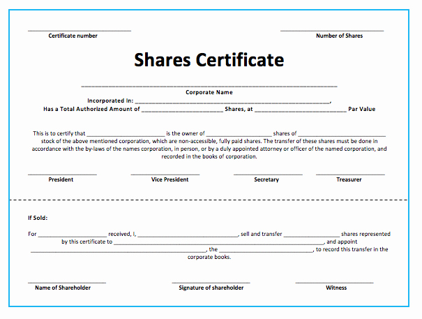 Corporate Stock Certificate Template Awesome Stock S Certificate Template Microsoft Word Templates