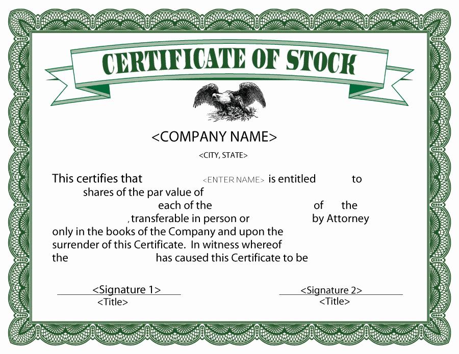 Corporate Stock Certificate Template Best Of 40 Free Stock Certificate Templates Word Pdf Templatelab