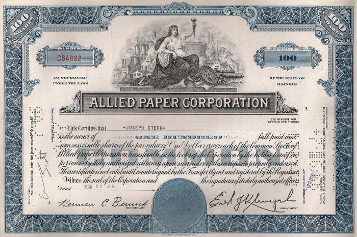 Corporate Stock Certificate Template Inspirational Allied Paper Corporation 1966 Stock Certificate