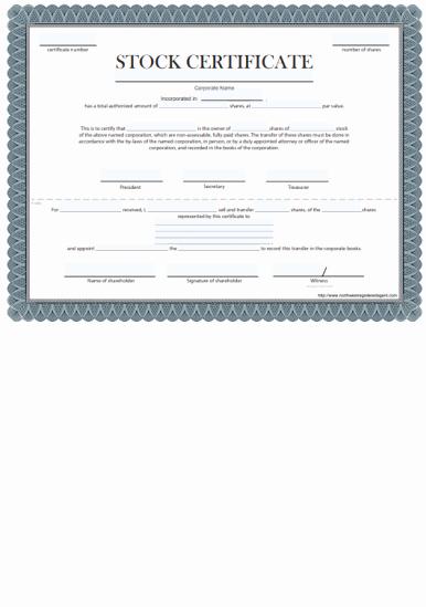 Corporate Stock Certificate Template Inspirational Free Certificate Of Stock Template Corporate Stock