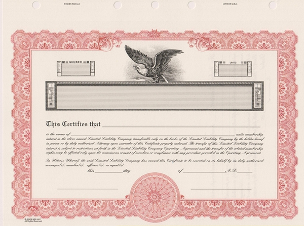 Corporate Stock Certificate Template New Llc Stock Certificates