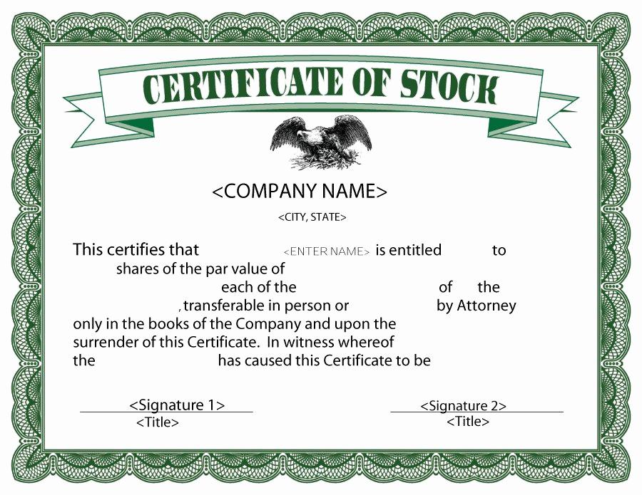 Corporate Stock Certificate Template Word Awesome 41 Free Stock Certificate Templates Word Pdf Free