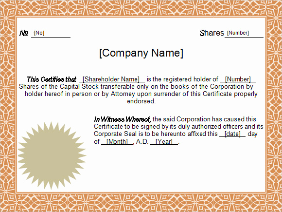 Corporate Stock Certificate Template Word Beautiful 5 Sample Stock Certificate Templates to Download