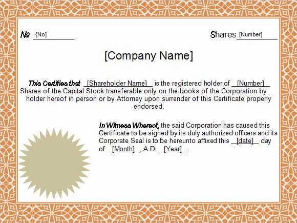 Corporate Stock Certificate Template Word Beautiful 5 Sample Stock Certificate Templates to Download