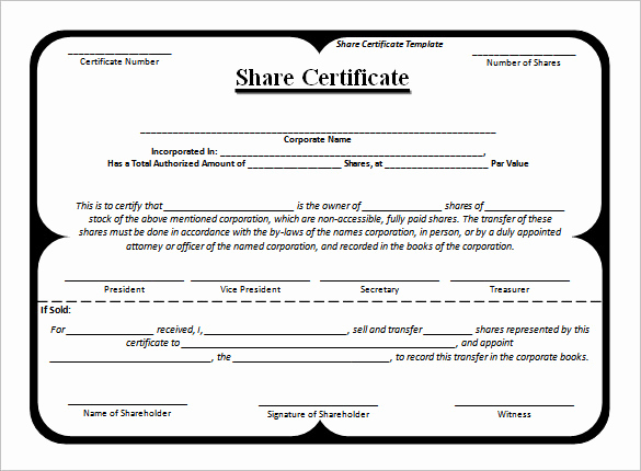 Corporate Stock Certificate Template Word Elegant 24 Stock Certificate Templates Psd Vector Eps