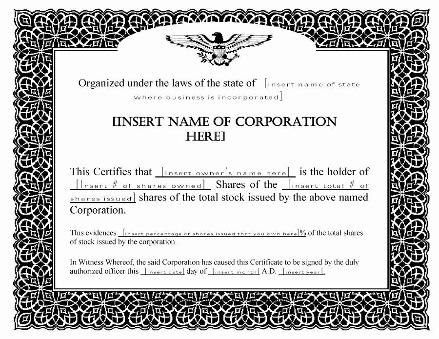 Corporate Stock Certificate Template Word Inspirational 40 Free Stock Certificate Templates Word Pdf Templatelab