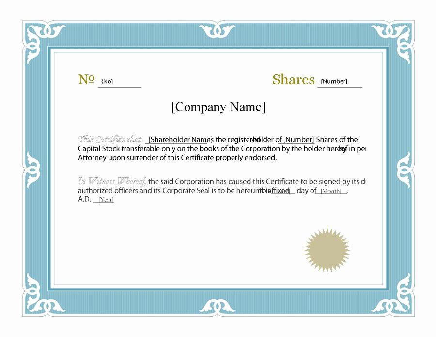 Corporate Stock Certificate Template Word Inspirational Stock Certificate Template Microsoft Word – Printable