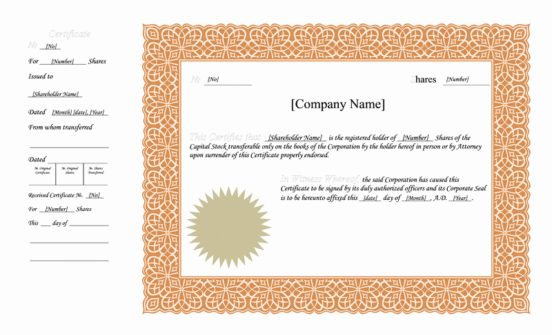 Corporate Stock Certificate Template Word Luxury Blank Free Mon Stock Certificate Template Microsoft