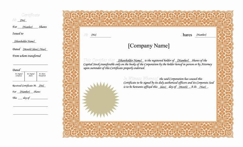Corporate Stock Certificate Template Word Luxury Blank Free Mon Stock Certificate Template Microsoft