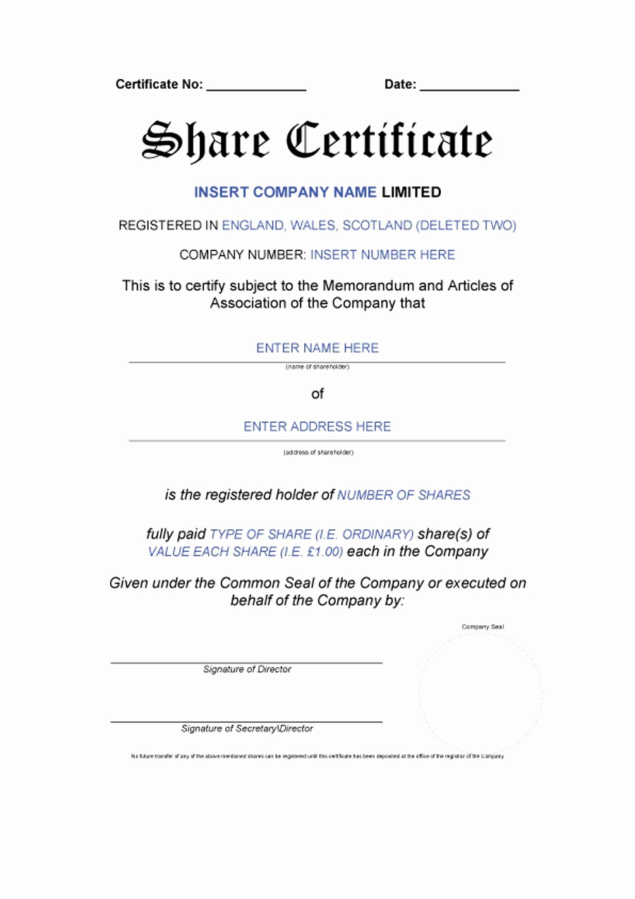 Corporate Stock Certificate Template Word Unique 41 Free Stock Certificate Templates Word Pdf Free