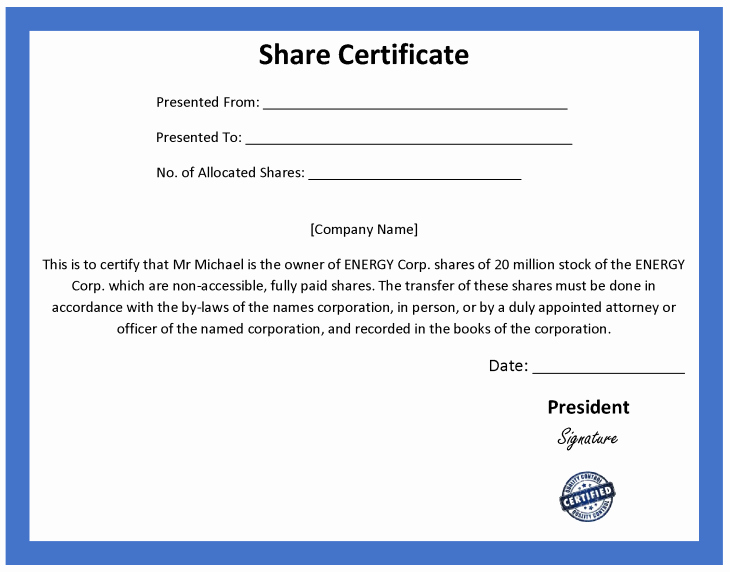 Corporate Stock Certificates Template Free Awesome ordinary Certificate Template