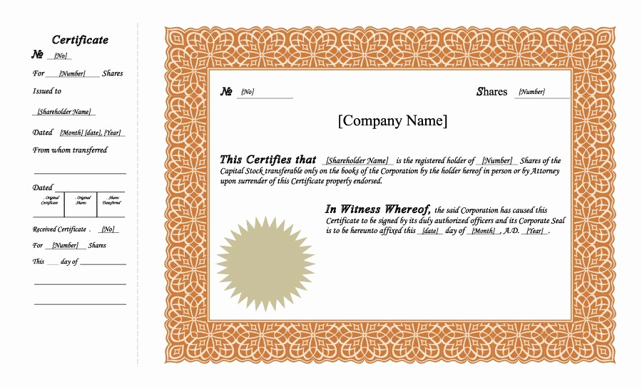 Corporate Stock Certificates Template Free Inspirational 41 Free Stock Certificate Templates Word Pdf Free