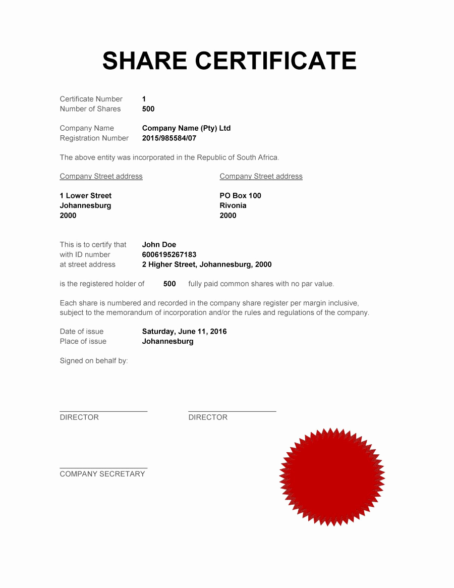 Corporate Stock Certificates Template Free Lovely Limited Pany Certificate Template Free