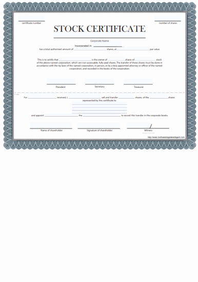 Corporate Stock Certificates Template Free New Free Certificate Of Stock Template Corporate Stock
