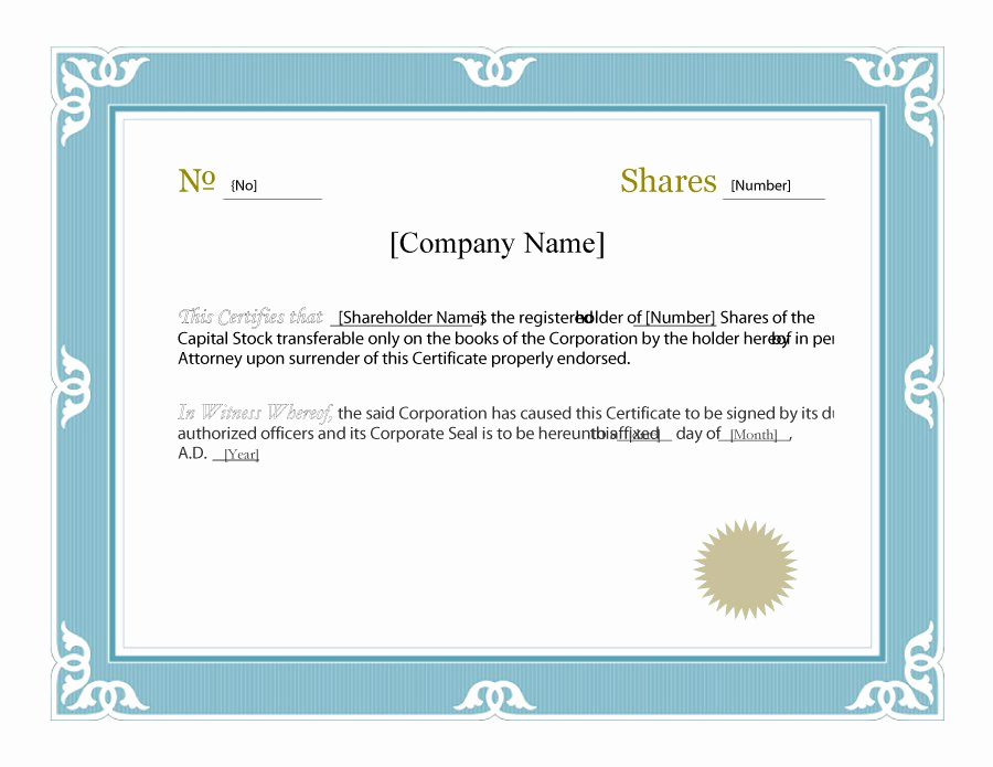 Corporate Stock Certificates Template Free Unique Stock Certificate Template Microsoft Word – Printable