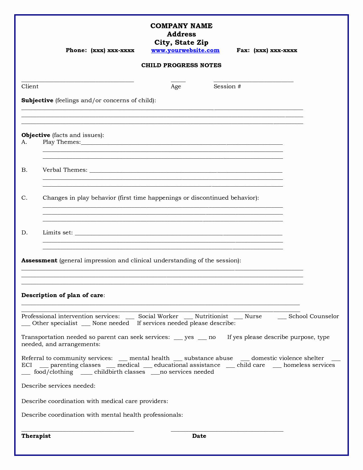 Counseling Case Notes Template New 29 Of Counseling Notes Template