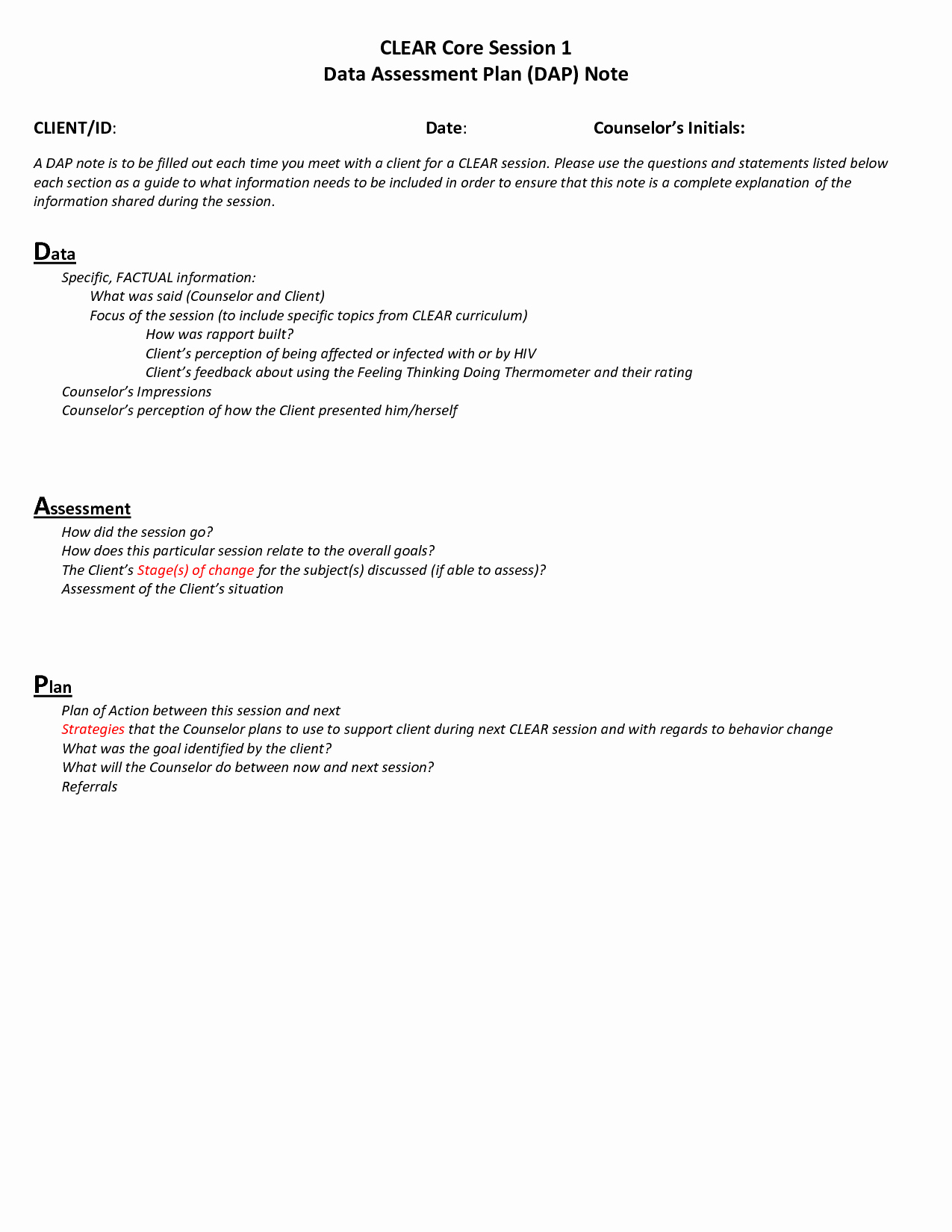 Counseling Case Notes Template New Dap Counseling Notes Template