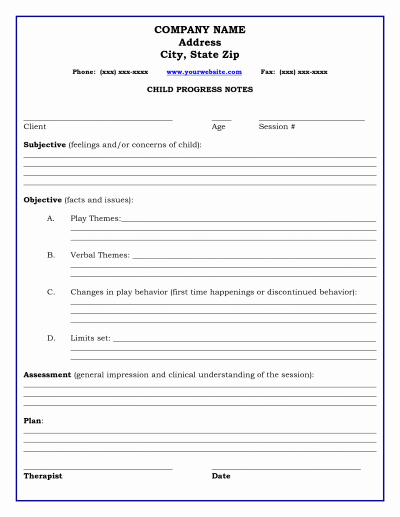 Counseling Session Notes Template Beautiful therapy Progress Note Template