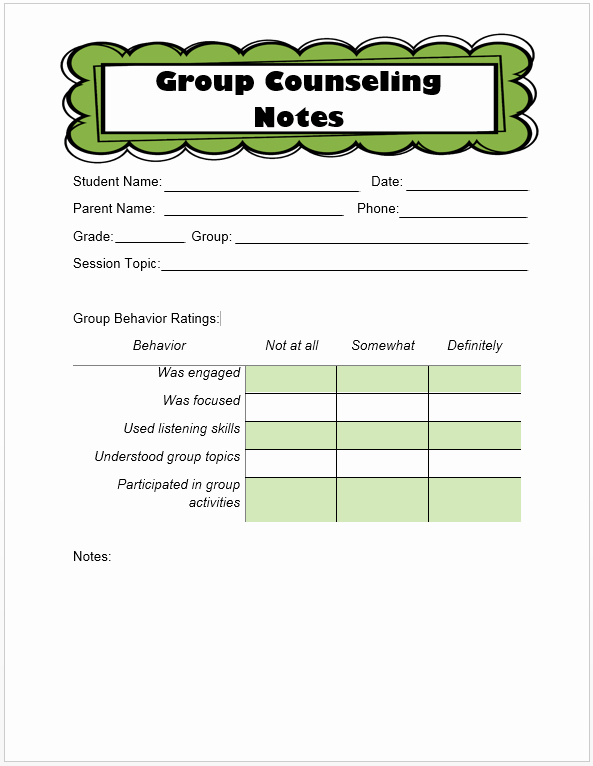 Counseling Session Notes Template Elegant Keeping Track Of Counseling Notes the Middle School