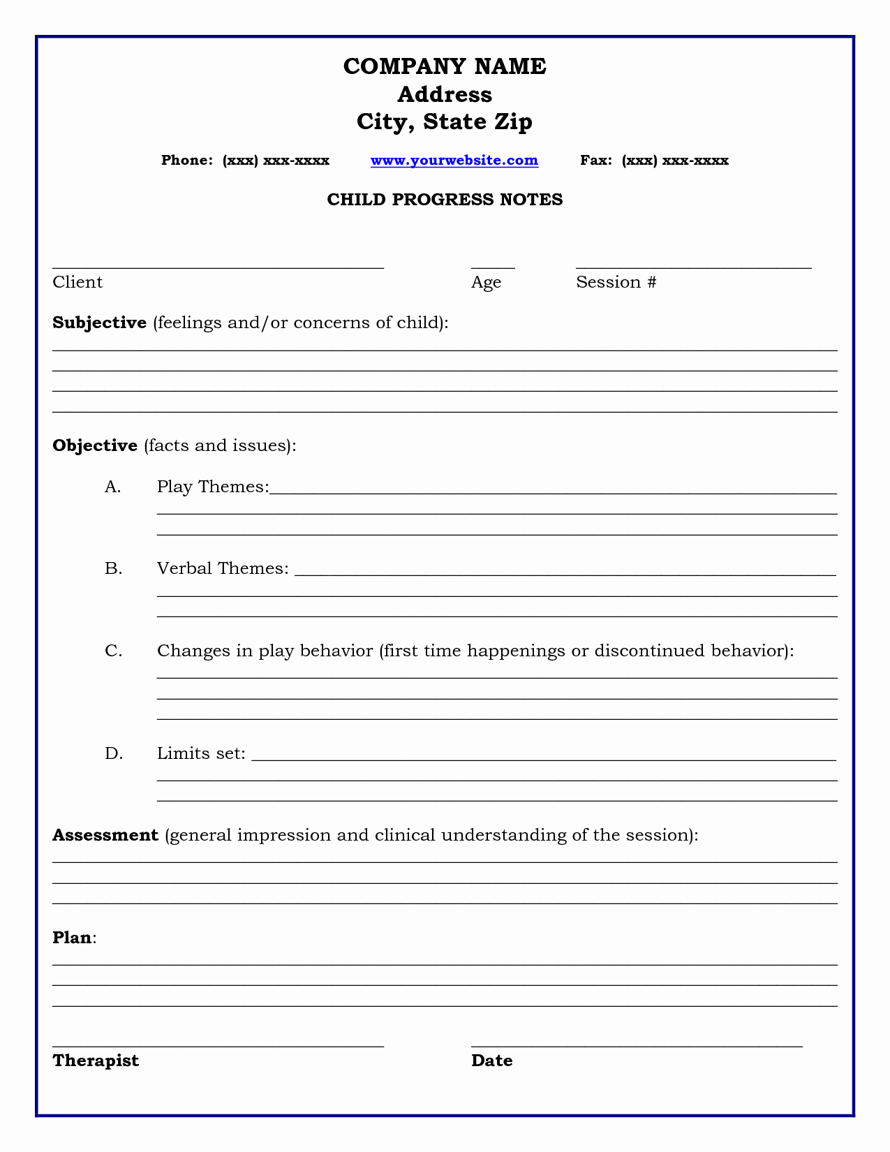 Counseling Session Notes Template Elegant therapy Progress Note Template