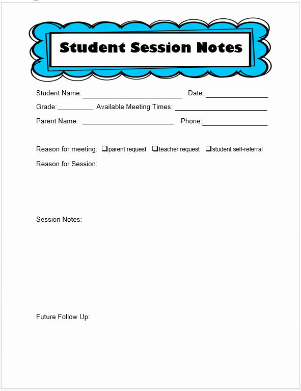 Counseling Session Notes Template Luxury the Middle School Counselor …