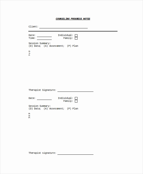 Counseling Session Notes Template New 10 Progress Note Templates Pdf Doc