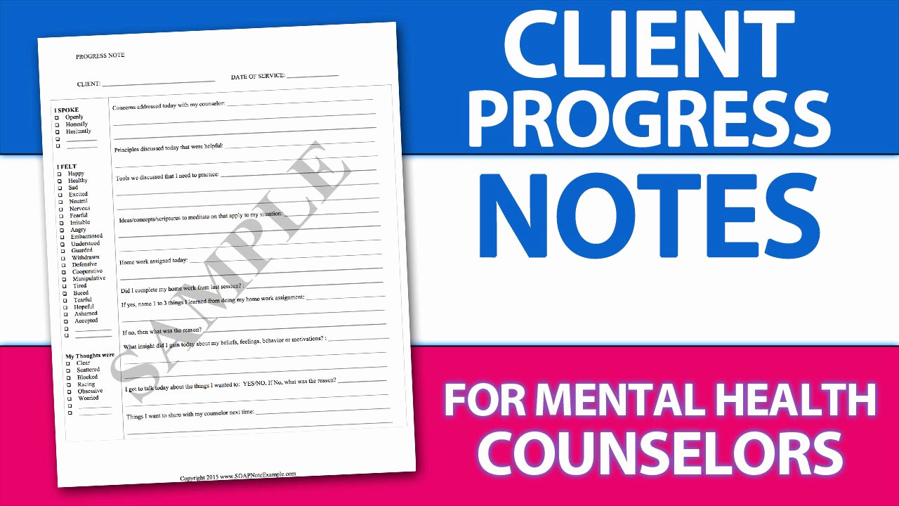 Counseling soap Note Template Elegant Easy Client Progress Note Template Tip for Mental Health