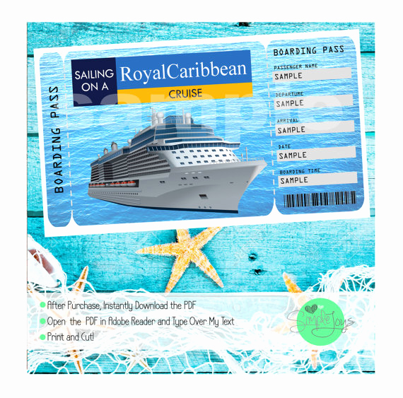 Cruise Gift Certificate Template Beautiful Royal Caribbean Cruise Printable Ticket Boarding Pass