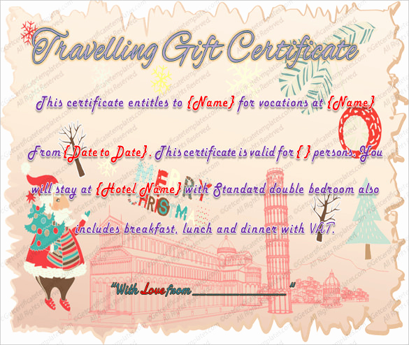 Cruise Gift Certificate Template Best Of 9 Travel Gift Certificate Templates Doc Pdf Psd