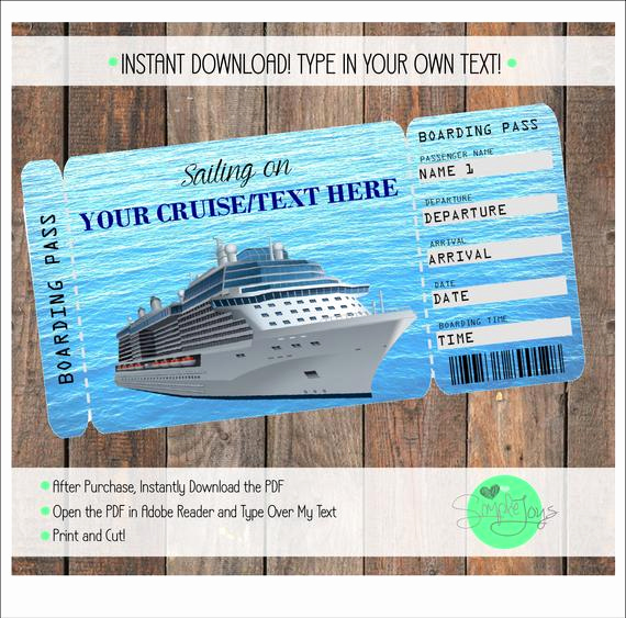 Cruise Gift Certificate Template Inspirational Printable Cruise Vacation Surprise Ticket Boarding Pass