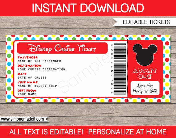 Cruise Gift Certificate Template Lovely Disney Cruise Ticket Mickey Mouse Surprise Gift Ticket