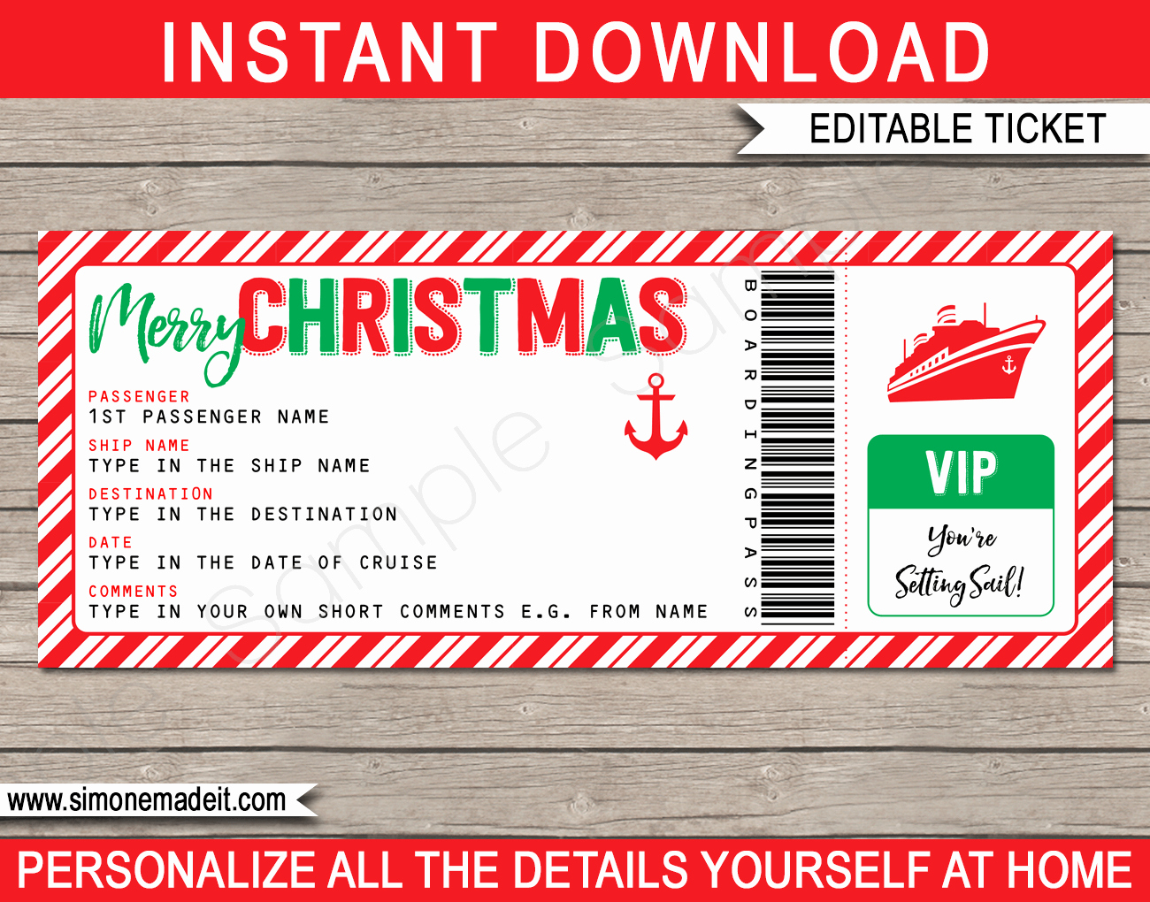 Cruise Gift Certificate Template Luxury Christmas Cruise Ticket Gift Template