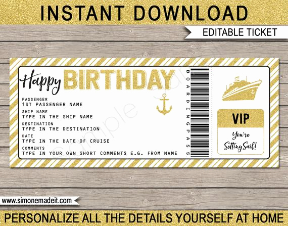 Cruise Gift Certificate Template Unique Cruise Ticket Birthday Gift Printable Boarding Pass