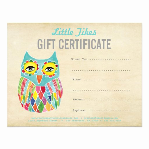 Custom Gift Certificate Template Best Of Owl Fashion Business Gift Certificate Template 4 25x5 5