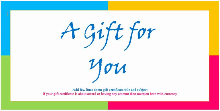 Custom Gift Certificate Template Fresh Custom Gift Certificate Templates for Microsoft Word